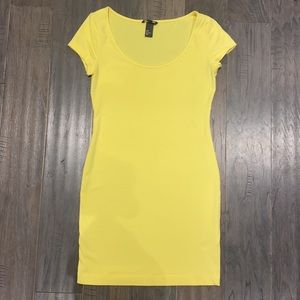 Bright Yellow Sexy T-Shirt BodyCon Mini Dress